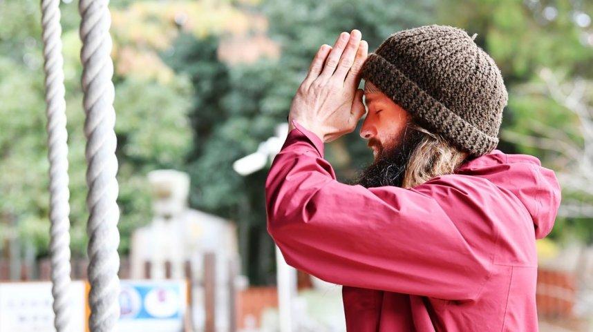 オーストラリアから巡礼に来たタイさん。歩きと自転車で約40日で国分寺に着いた