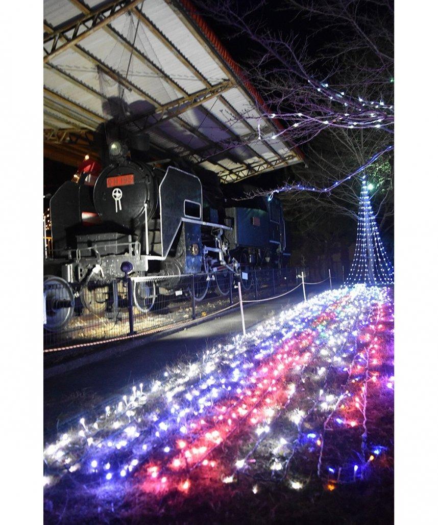 蒸気機関車の周りをLEDでカラフルに染める「なかよし広場」=香川県東かがわ市与田山